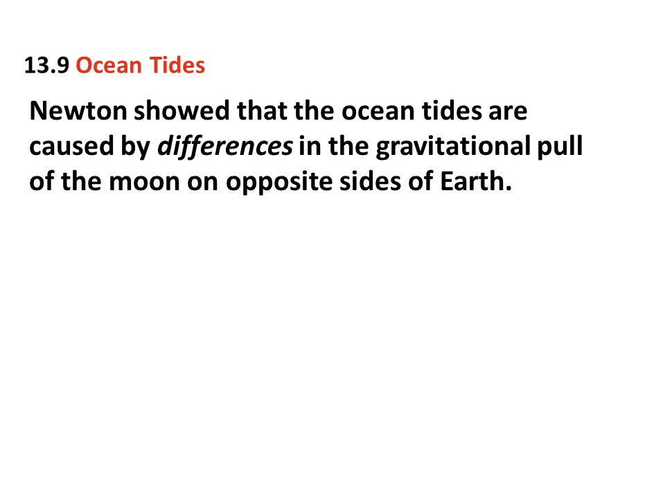 13.9 Ocean Tides Newton showed that the ocean tides are caused by differences in the gravitational pull of the moon on opposite sides of Earth.