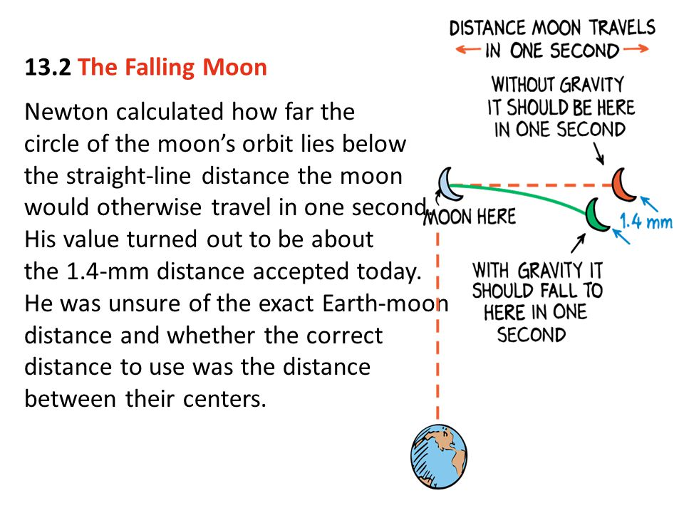 13.2 The Falling Moon Newton calculated how far the. circle of the moon's orbit lies below. the straight-line distance the moon.