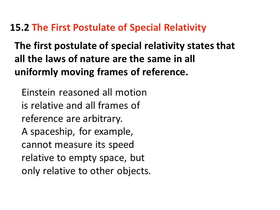 15.2 The First Postulate of Special Relativity