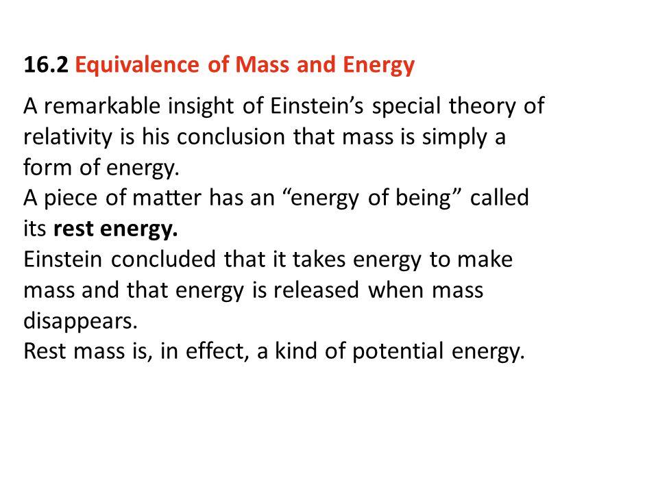 16.2 Equivalence of Mass and Energy