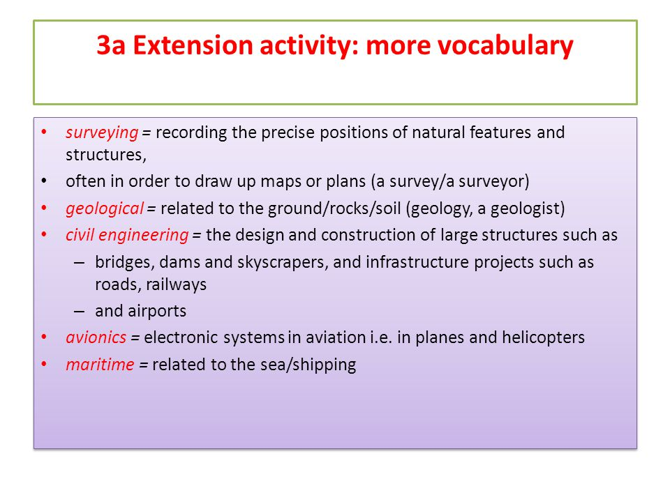 3a Extension activity: more vocabulary