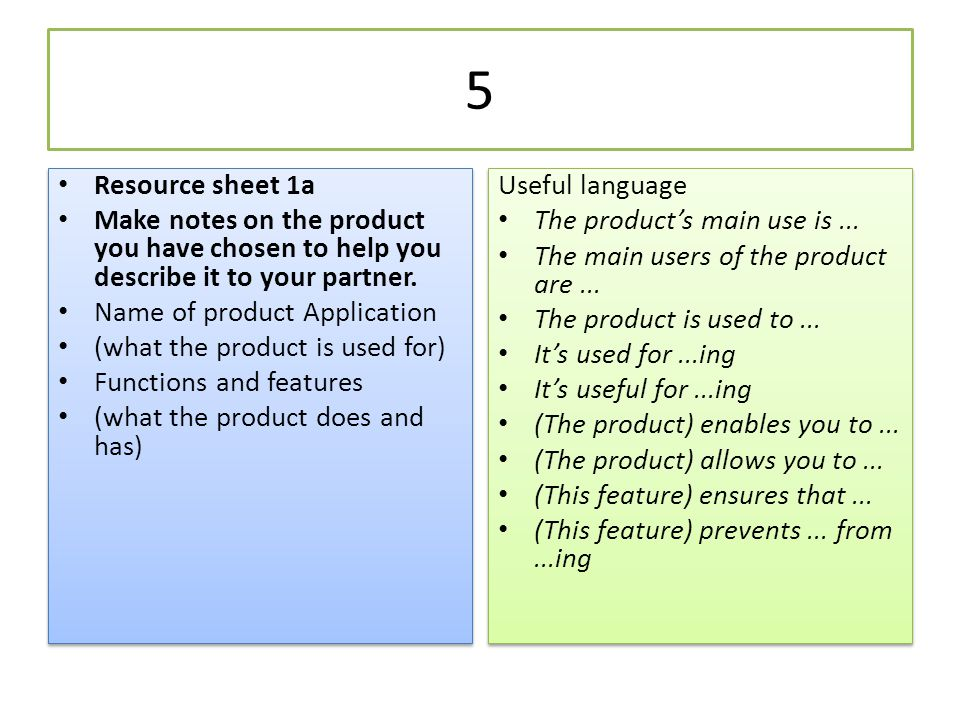 5 Resource sheet 1a. Make notes on the product you have chosen to help you describe it to your partner.