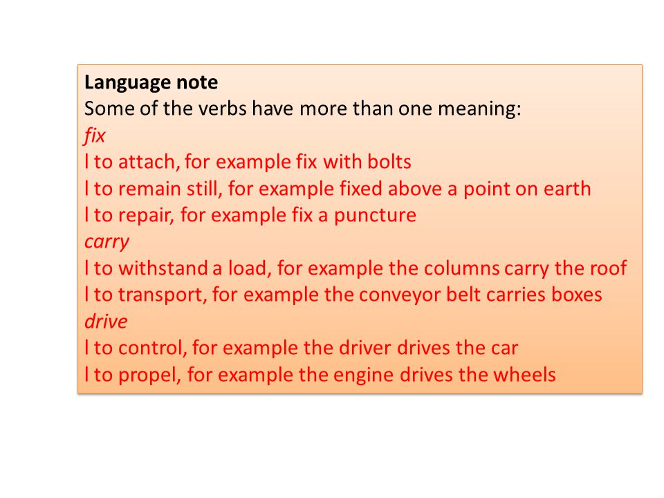 Language note Some of the verbs have more than one meaning: fix. l to attach, for example fix with bolts.