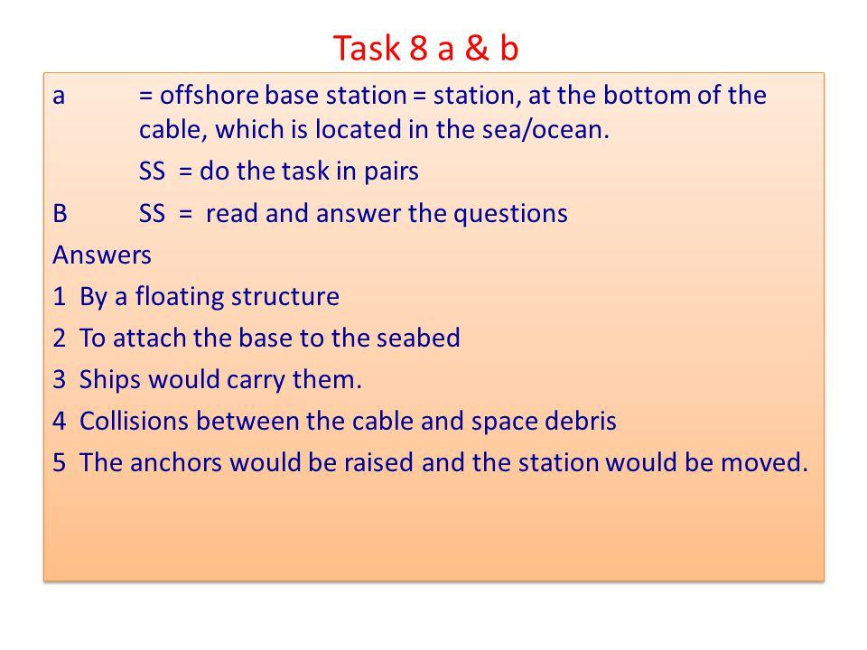 Task 8 a & b a = offshore base station = station, at the bottom of the cable, which is located in the sea/ocean.