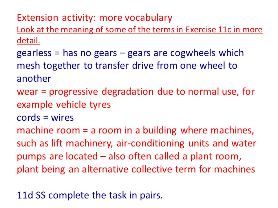 Extension activity: more vocabulary