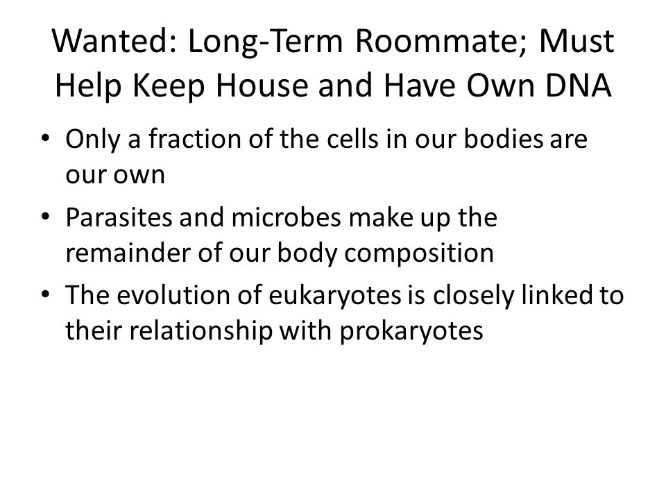 Wanted: Long-Term Roommate; Must Help Keep House and Have Own DNA