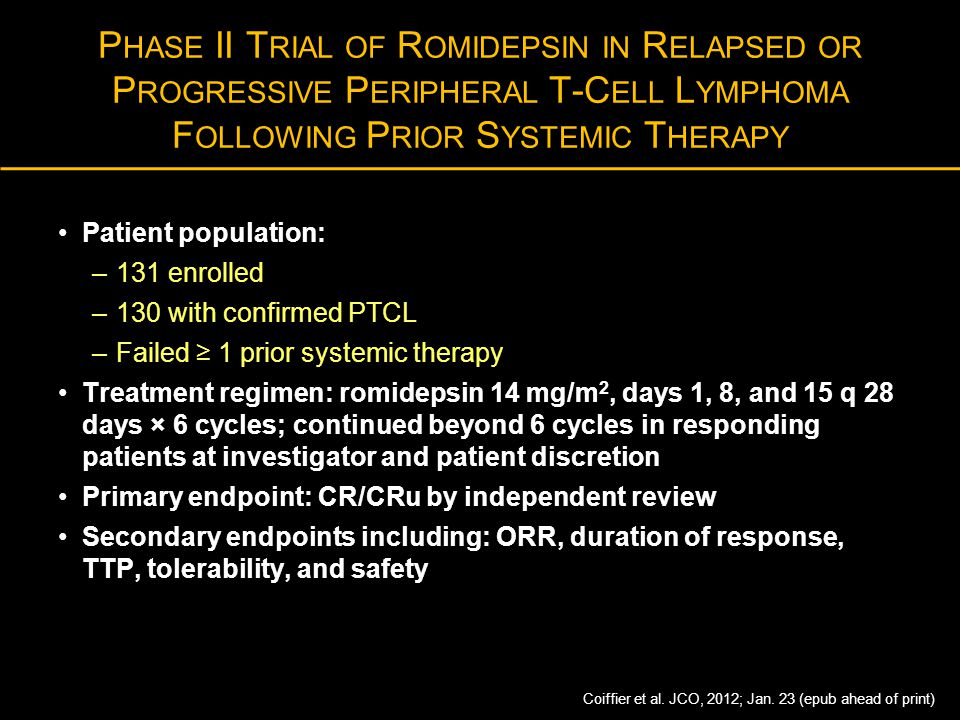 Phase II Trial of Romidepsin in Relapsed or Progressive Peripheral T-Cell Lymphoma Following Prior Systemic Therapy