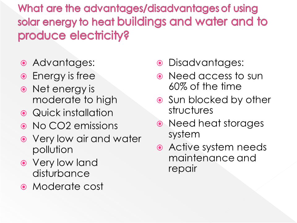What are the advantages/disadvantages of using solar energy to heat buildings and water and to produce electricity