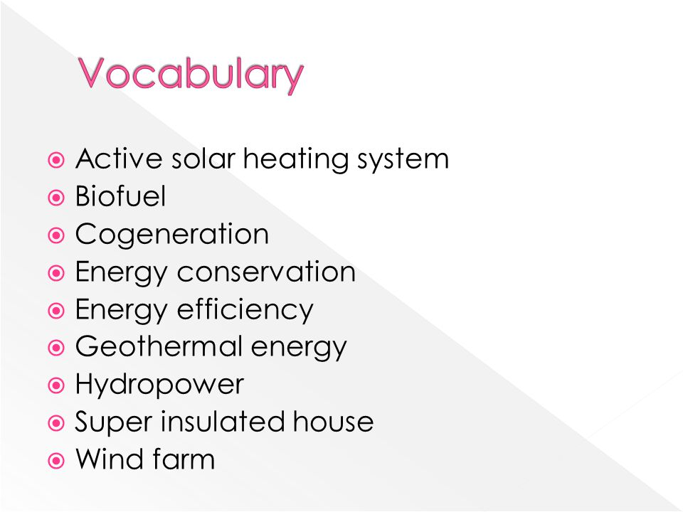 Vocabulary Active solar heating system Biofuel Cogeneration
