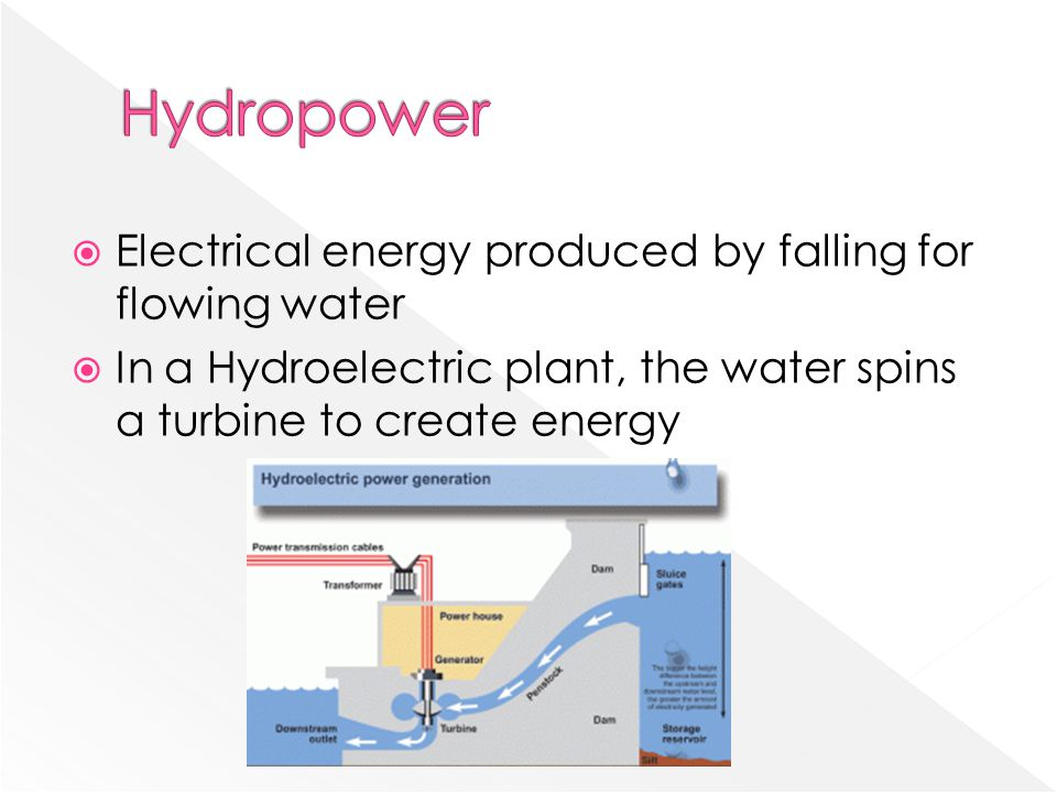 Hydropower Electrical energy produced by falling for flowing water