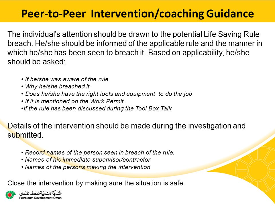Peer-to-Peer Intervention/coaching Guidance