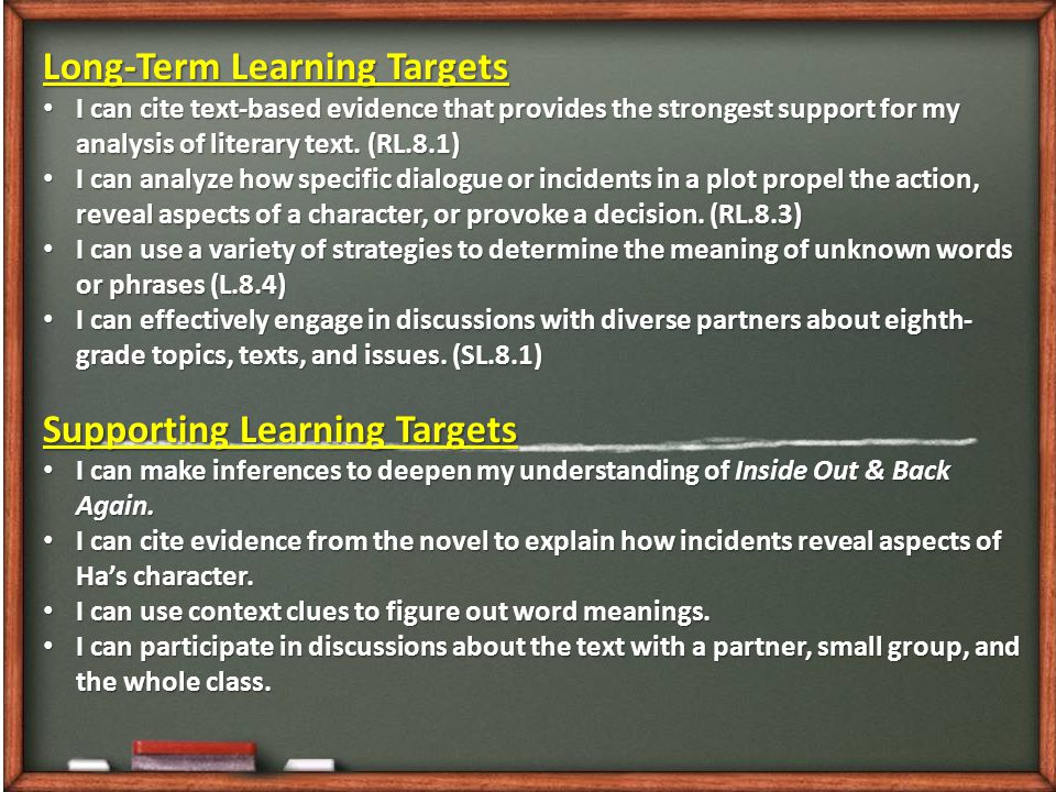 Long-Term Learning Targets