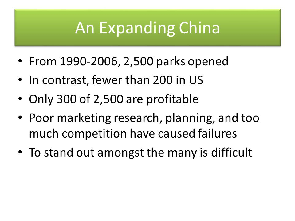 An Expanding China From 1990-2006, 2,500 parks opened