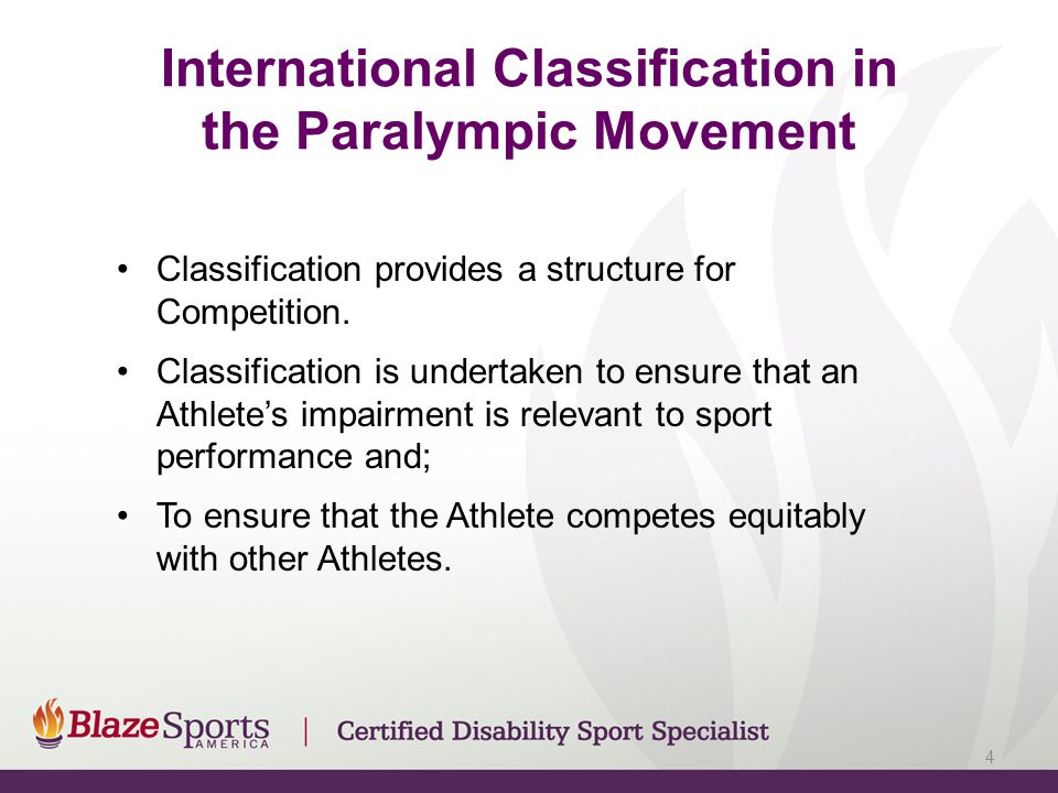 International Classification in the Paralympic Movement