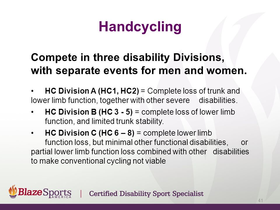 Handcycling Compete in three disability Divisions, with separate events for men and women.