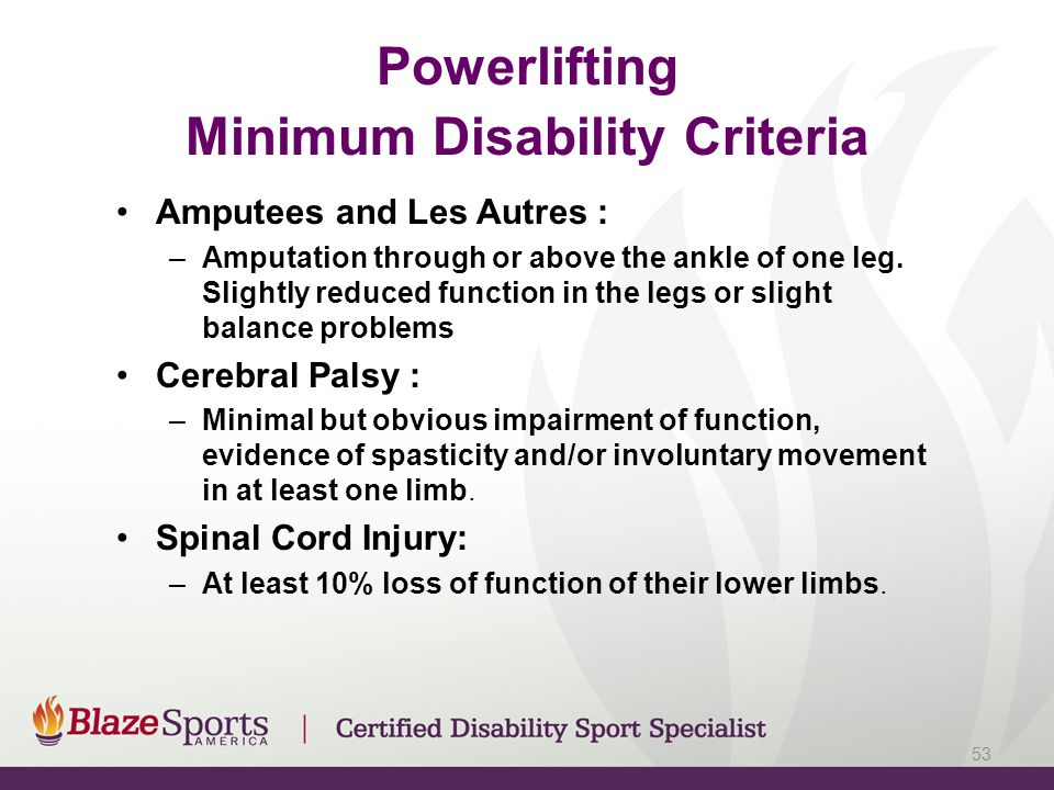 Powerlifting Minimum Disability Criteria