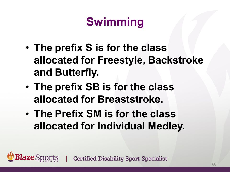 Swimming The prefix S is for the class allocated for Freestyle, Backstroke and Butterfly. The prefix SB is for the class allocated for Breaststroke.