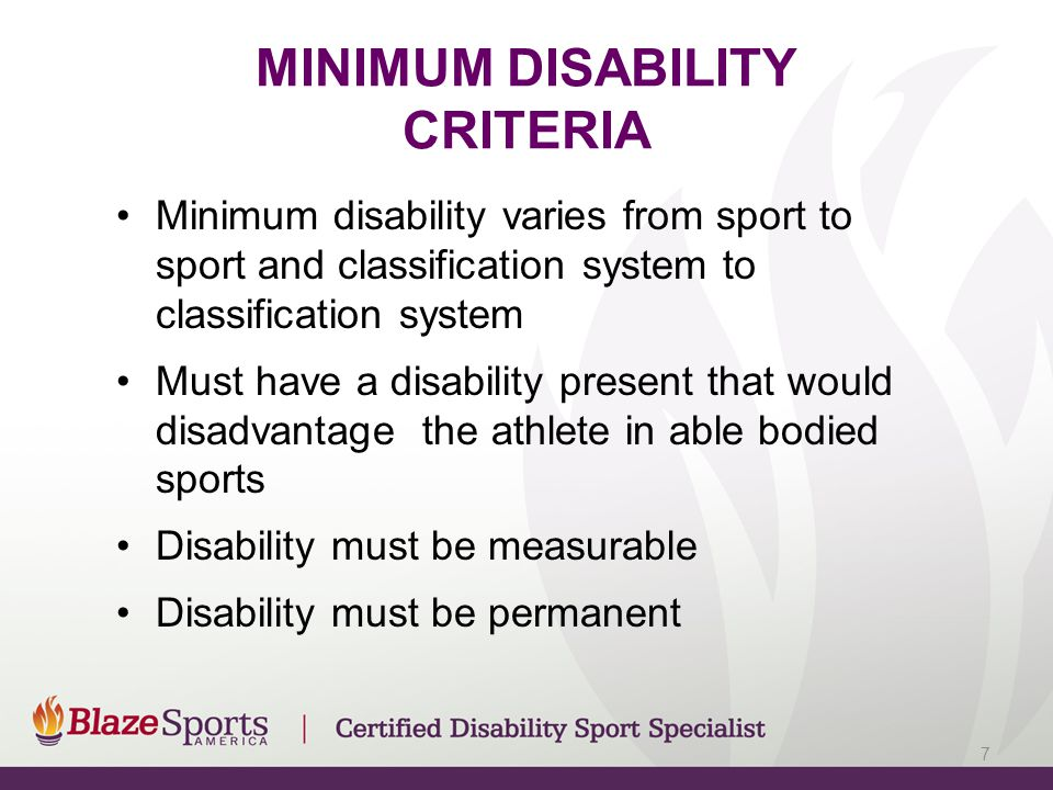 MINIMUM DISABILITY CRITERIA