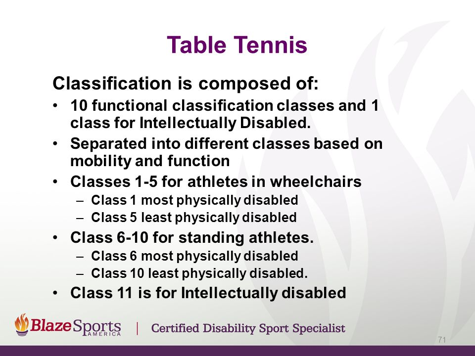 Table Tennis Classification is composed of: