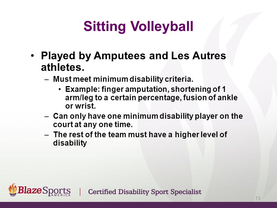 Sitting Volleyball Played by Amputees and Les Autres athletes.