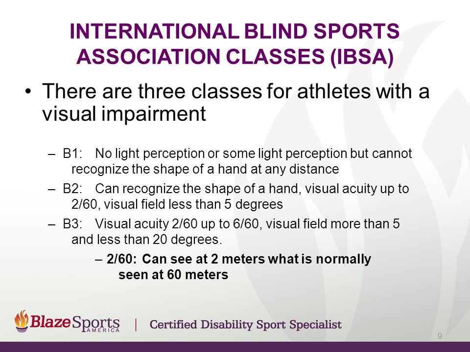 INTERNATIONAL BLIND SPORTS ASSOCIATION CLASSES (IBSA)