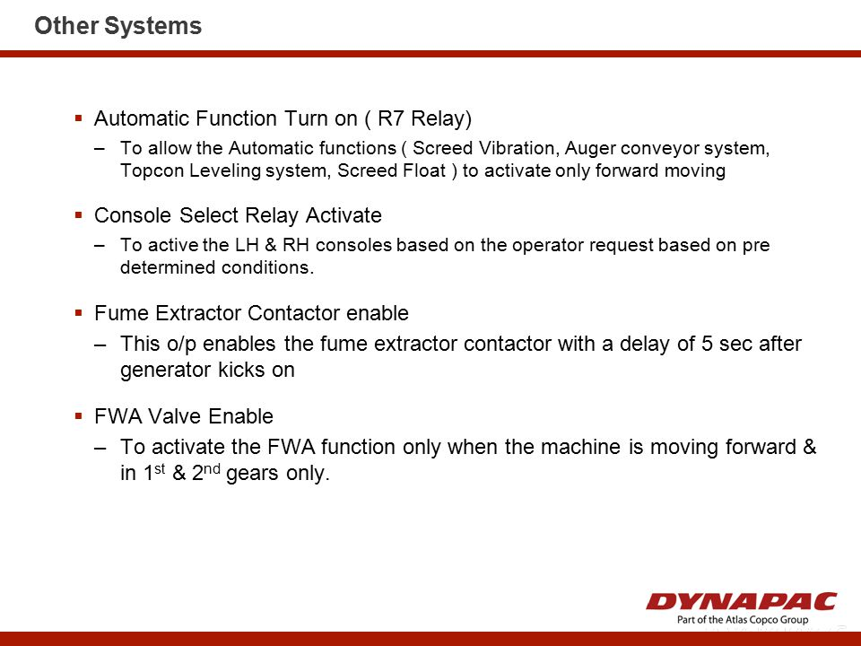 Other Systems Automatic Function Turn on ( R7 Relay)