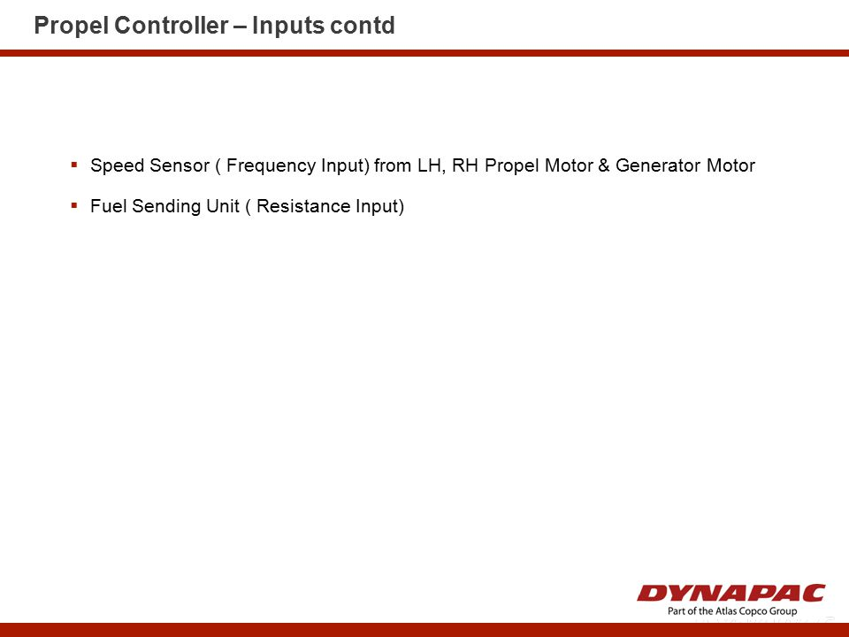 Propel Controller – Inputs contd