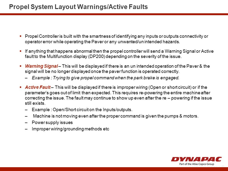 Propel System Layout Warnings/Active Faults