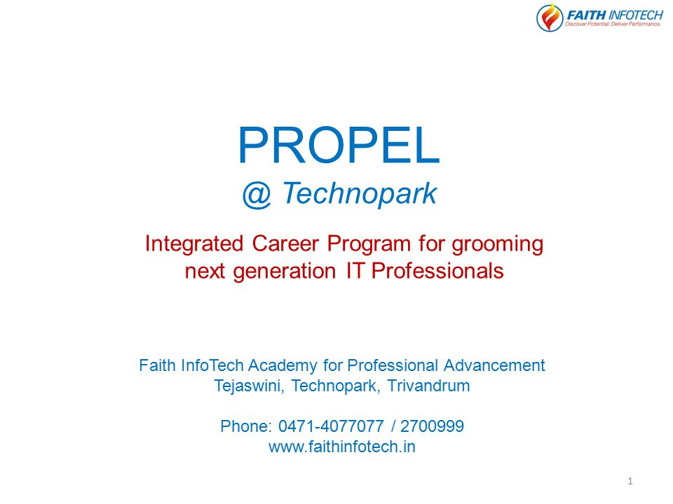 PROPEL @ Technopark Integrated Career Program for grooming