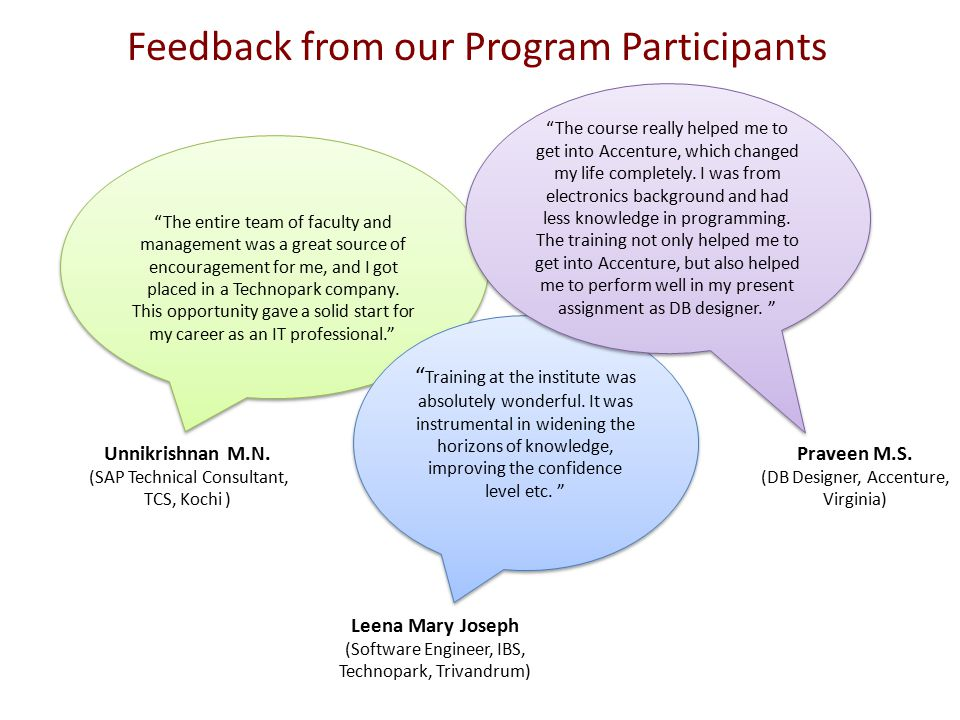 Feedback from our Program Participants