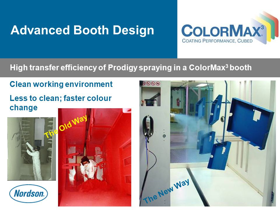Advanced Booth Design High transfer efficiency of Prodigy spraying in a ColorMax3 booth. Clean working environment.