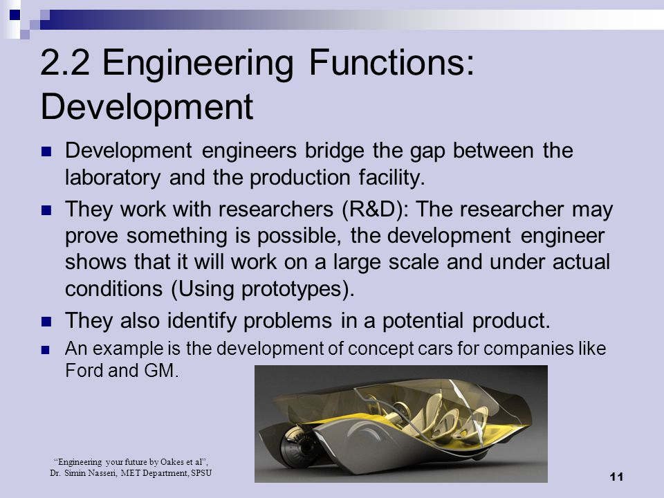 2.2 Engineering Functions: Development