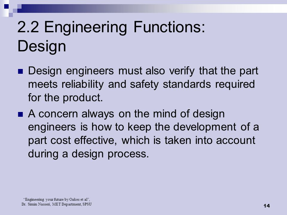 2.2 Engineering Functions: Design