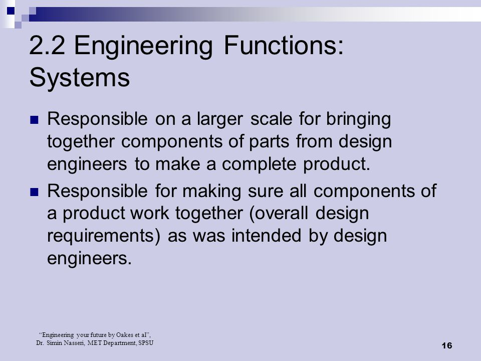 2.2 Engineering Functions: Systems