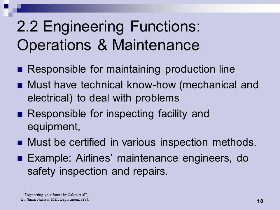 2.2 Engineering Functions: Operations & Maintenance