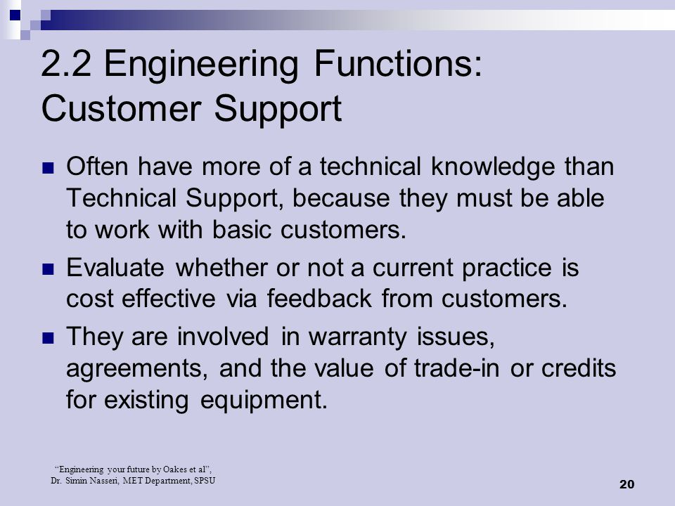2.2 Engineering Functions: Customer Support