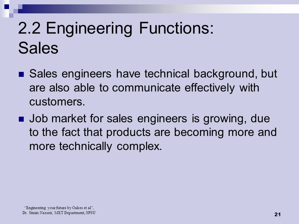2.2 Engineering Functions: Sales