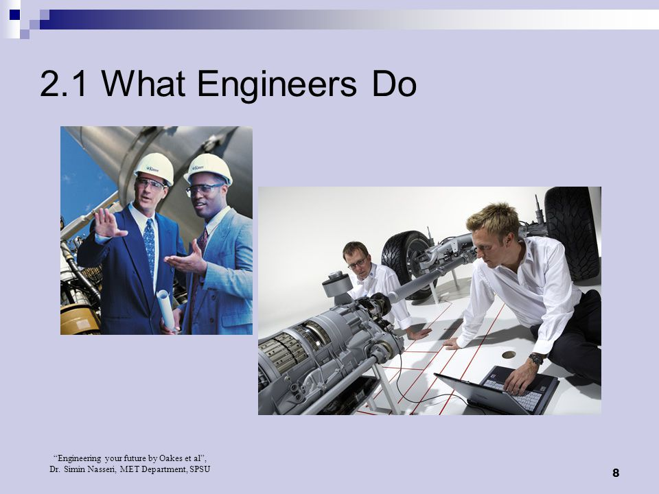 2.1 What Engineers Do Insert Figure 2.1 Engineering positions