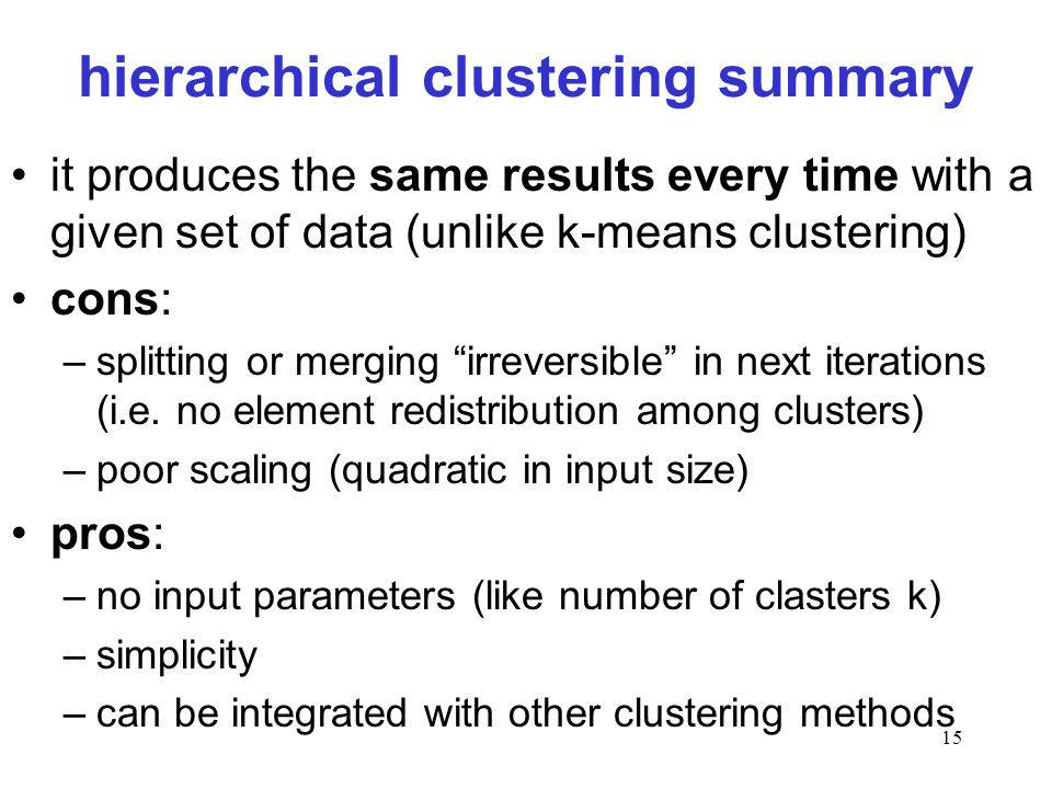 hierarchical clustering summary