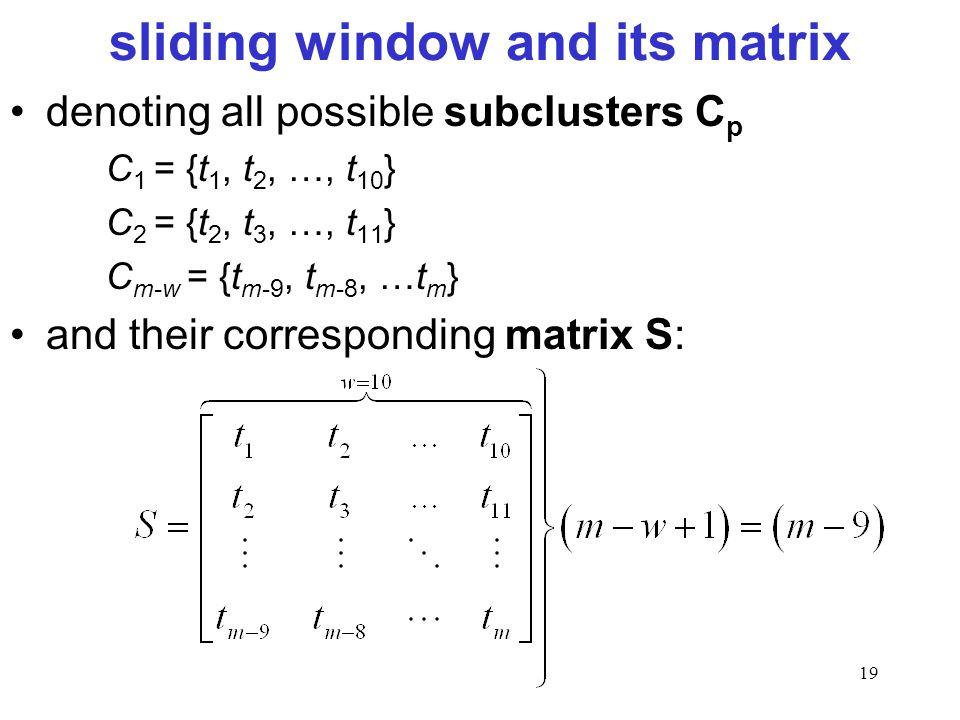 sliding window and its matrix