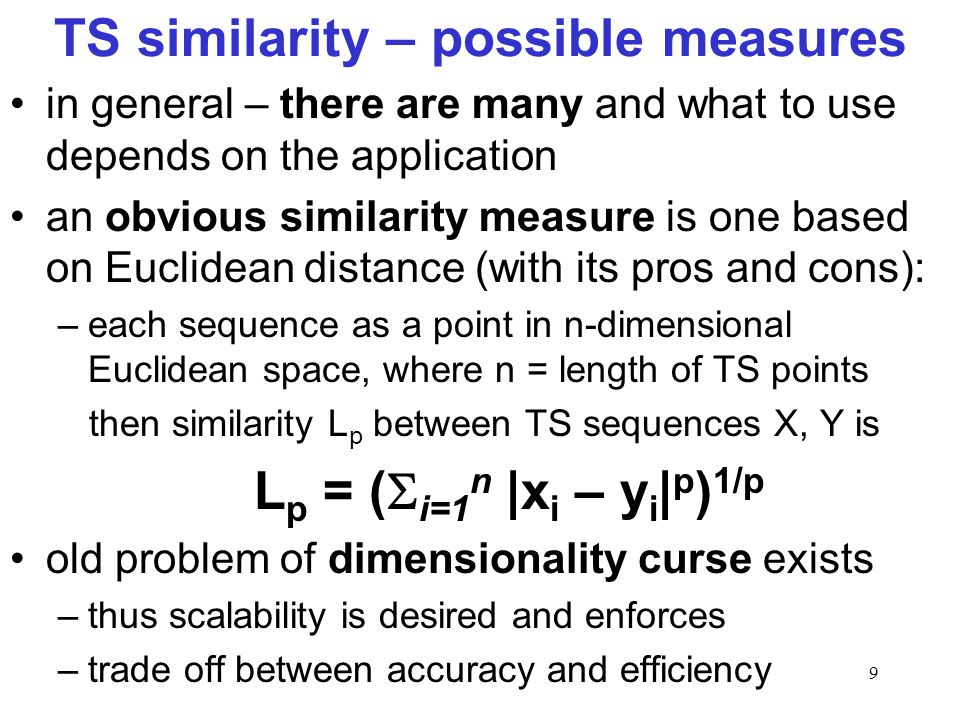 TS similarity – possible measures