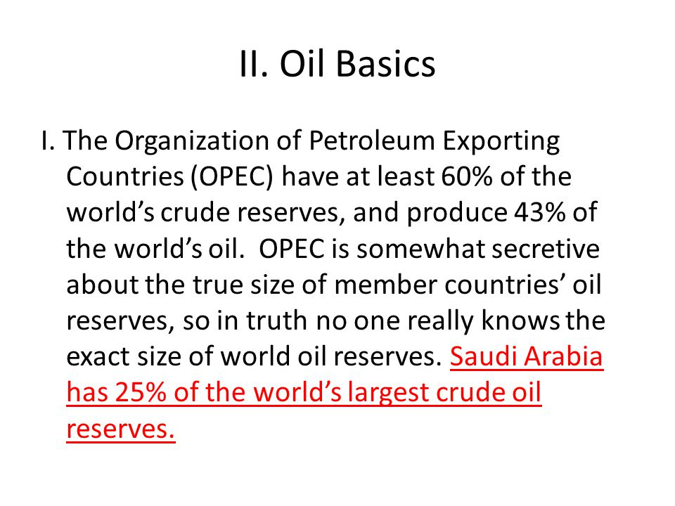 II. Oil Basics