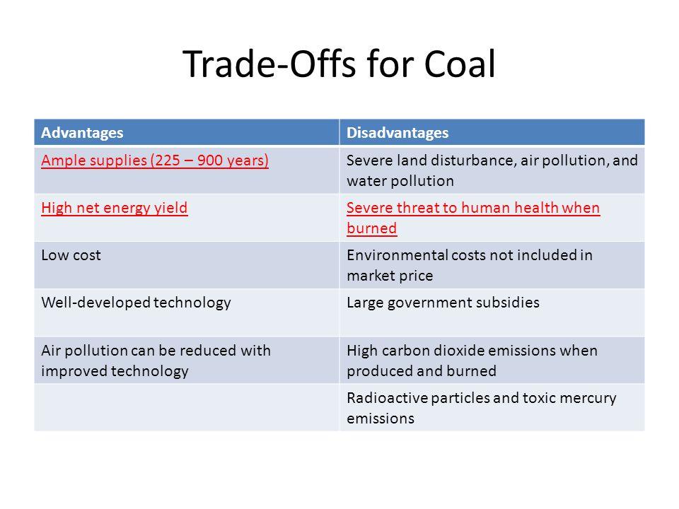 Trade-Offs for Coal Advantages Disadvantages