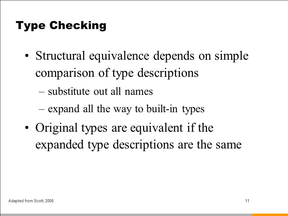 Type Checking Structural equivalence depends on simple comparison of type descriptions. substitute out all names.
