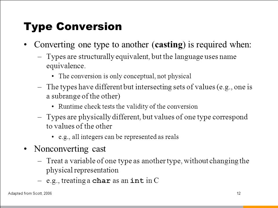Type Conversion Converting one type to another (casting) is required when:
