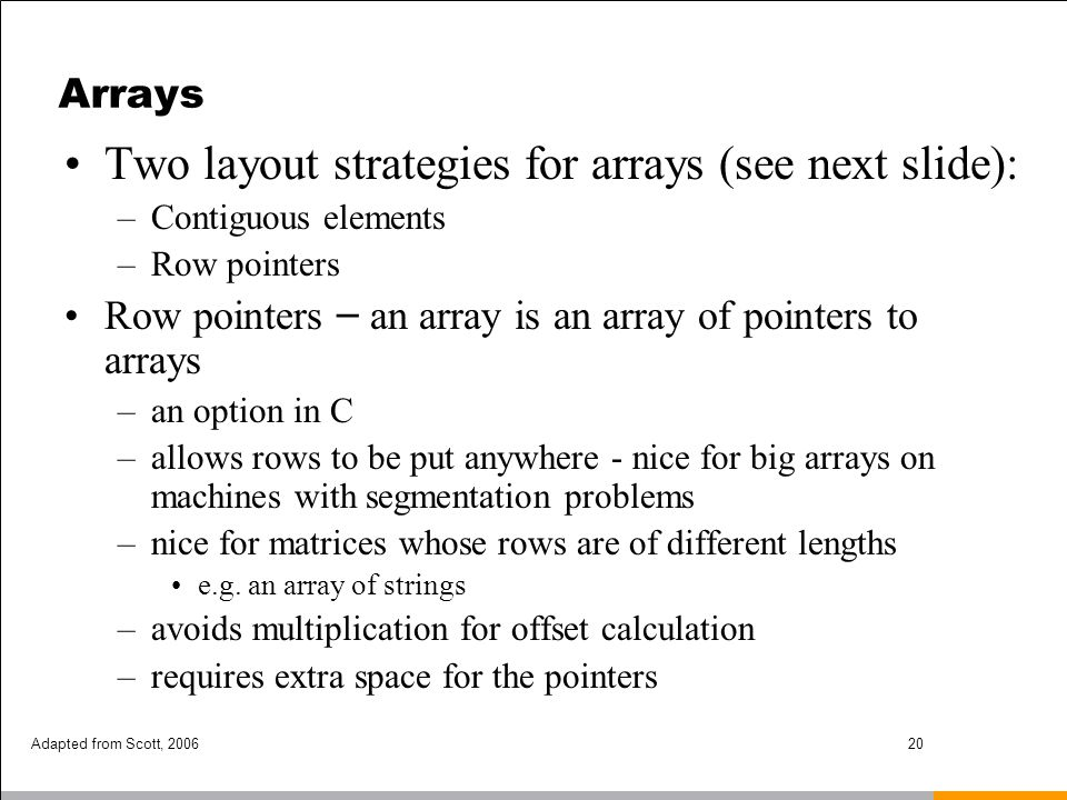 Two layout strategies for arrays (see next slide):