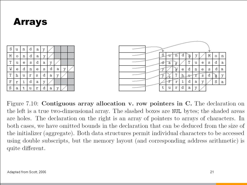 Arrays Adapted from Scott, 2006