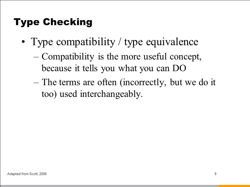 Type compatibility / type equivalence