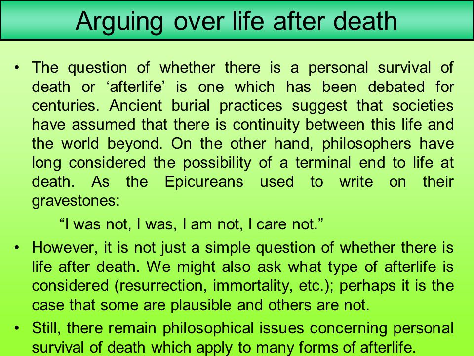 Arguing over life after death