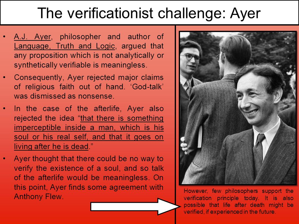 The verificationist challenge: Ayer